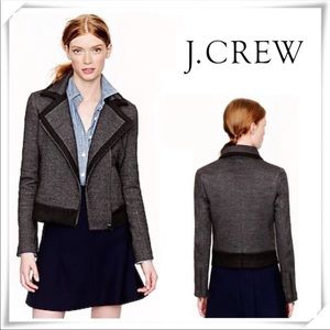 J. Crew wool motorcycle jacket gray black size 8